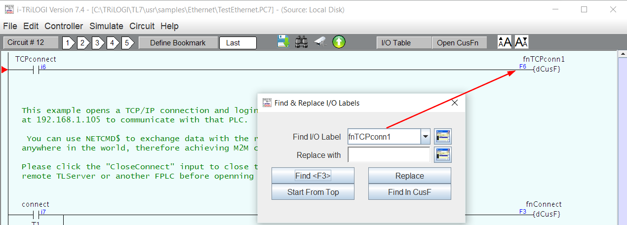 Select Find from the Edit menu to search ladder logic elements
