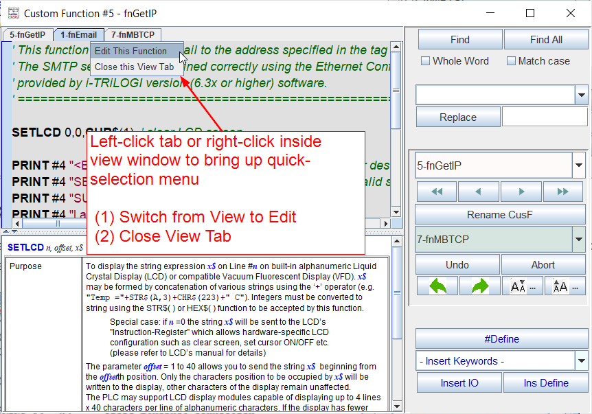 Left-click tab or right-click inside view window to bring up quick-selection menu (1) Switch from View to Edit (2) Close View Tab