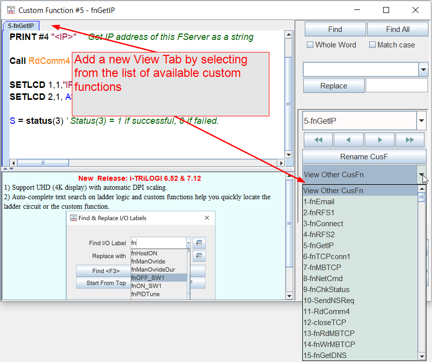 Add a new View Tab by selecting from the list of available custom functions
