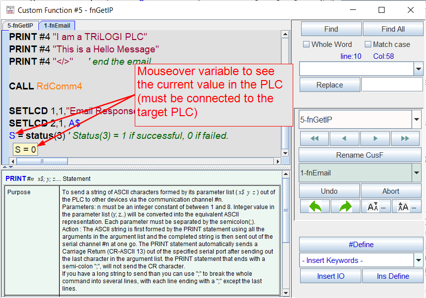 Mouseover variable to see the current value in the PLC (must be connected to the target PLC)