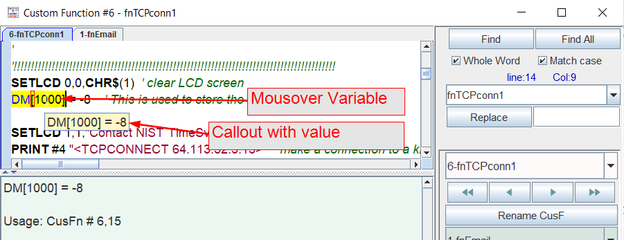 Mouseover variable to display a callout with the current value