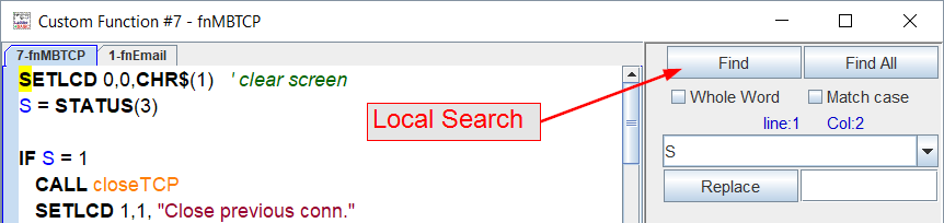 Click the Find button to do a local search