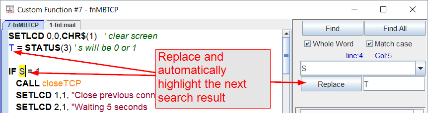 Replace the current match and automatically highlight the next search result